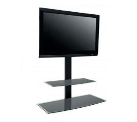 "ITB SOLUTION STUDIO 1000 COLONNA PORTA TV CON MENSOLA IN VETRO PORTATA MAK 40KG MAX 50"" COLORE NERO"