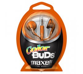 Maxell Colour Budz Headphones Orange Cuffia Blu, Porpora
