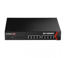 Edimax GS-5008PL switch di rete Gigabit Ethernet (10/100/1000) Nero Supporto Power over Ethernet (PoE)
