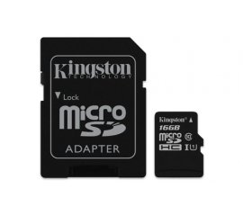 KINGSTON CANVAS SELECT 16GB MICRO SDHC CLASSE 10 UHS-I CON ADATTATORE SD