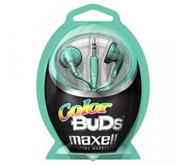 Maxell Colour Budz Headphones Green Cuffia Blu, Porpora