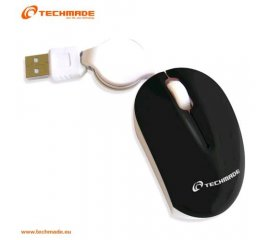 TECHMADE TM-XJ18 MINI MOUSE OTTICO USB CON CAVO RETRATTILE BLACK