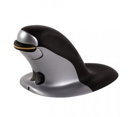FELLOWES PENGUIN MOUSE VERTICALE LARGE WIRELESS 1.200 DPI COLORE NERO/GRIGIO