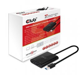 CLUB3D USB A to DisplayPort™ 1.2 Dual Monitor 4K 60Hz
