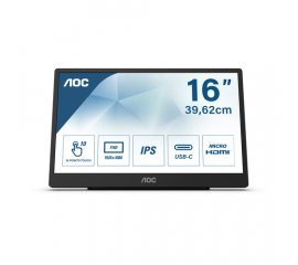 "AOC 16T2 monitor touch screen 39,6 cm (15.6"") 1920 x 1080 Pixel Multi-touch Nero"